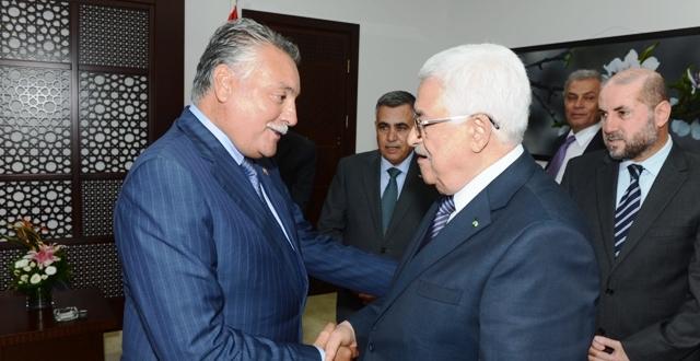 رئيس دولة فلسطين  محمود عباس يستقبل قيادة التقدم والاشتراكية